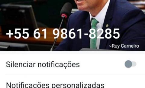 Criminosos criam conta falsa com nome do deputado federal Ruy Carneiro para aplicar golpe em prefeitos
