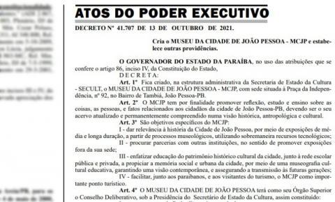 Governador da Paraíba decreta criação do Museu da Cidade de João Pessoa